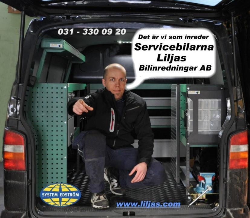 """Vår servicebil, Magnus lilja, texten """"Det är vi som inreder servicebilarna"""". System Edströms logga"""