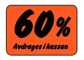 Etikett 60% Avdrages i kassan