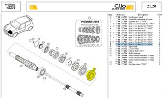 PIGN 6EME 22DTS PRIMARE 22X27 - Gear 6 - 22 dts (22/27)