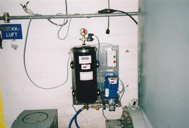 Filmax oljefilteranlegg. Montert på plate
