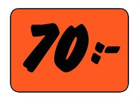 Etikett 70:- 50x30mm