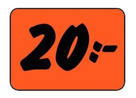 Etikett 20:- 50x30mm