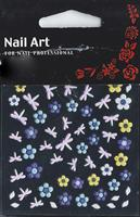 NA- Sticker dragonfly pink & flower