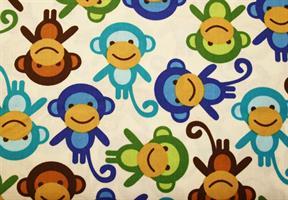 Puuvillakangas apina sininen-turkoosi-ruskea