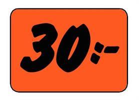 Etikett 30:- 50x30mm