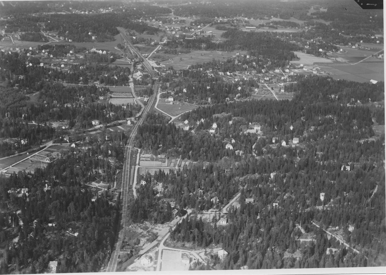 Flygfoto över Huddinge.  Flygfoto Fotograf: Ahrenbergsflyg, fotograferad - 1936