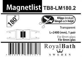 Magnetlist (180° glas) för 8mm glas /(Special)