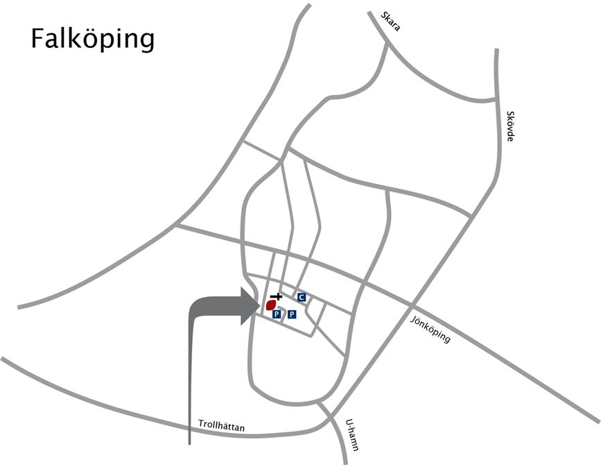 Vårt kontorshotell ligger centralt i Falköping, ett stenkast från torget.