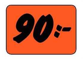 Etikett 90:- 50x30mm