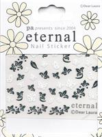 DL- Sticker Butterfly white & flower black