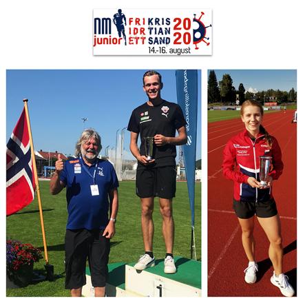Jr. NM 2020: Helene Rønningen (21) og Henrik Flåtnes (18) vant hver sin sølvpokal, bestemannspremie fra Friidrettens Venner.