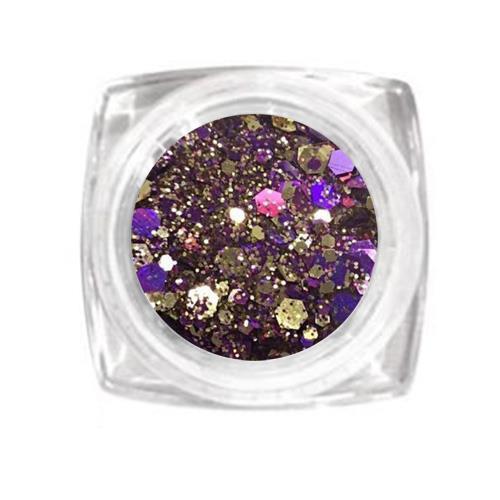 KN- Jar MIX Glitter GOLD PURPLE