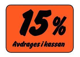 Etikett 15% Avdrages i kassan