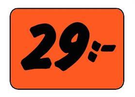 Etikett 29:- 30x20mm