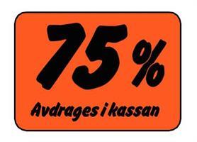 Etikett 75% Avdrages i kassan