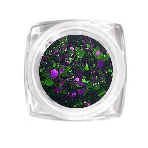 KN- Jar MIX Glitter GREEN PURPLE