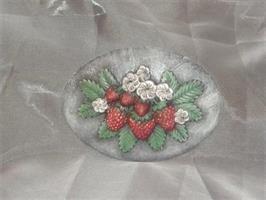 Platta jordgubbar målad