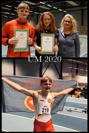 UM 2020 Innendørs: Prisvinnere Henriette Jæger, Aremark IF og Andreas Bakketun, IL Gular Friidrett.