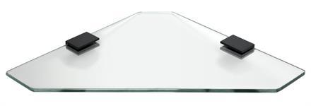 Glashylla hörn 28 cm- Klarglas - Svart Matt