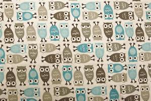 Puuvillakangas harmaa-turkoosi pöllö