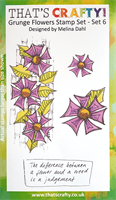 A6 clear stamp set Grunge Flowers set 6