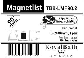 Magnetlist (90°FIXED glas) för 8mm glas (Special)