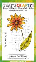 A6 clear stamp set Grunge Flowers set 4