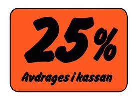 Etikett 25% Avdrages i kassan