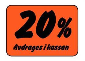 Etikett 20% Avdrages i kassan