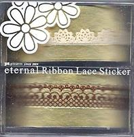 DL- Sticker Ribbon lace white & brown