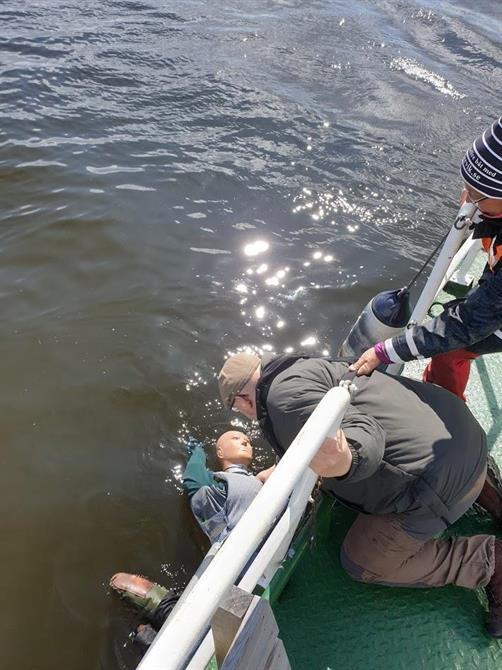 Man över bord övning på Båtpraktik dager