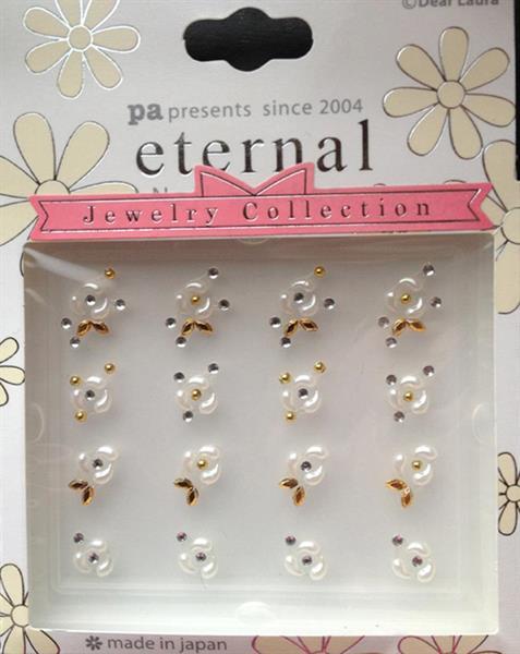 DL- Sticker Jewel white & gold  rose