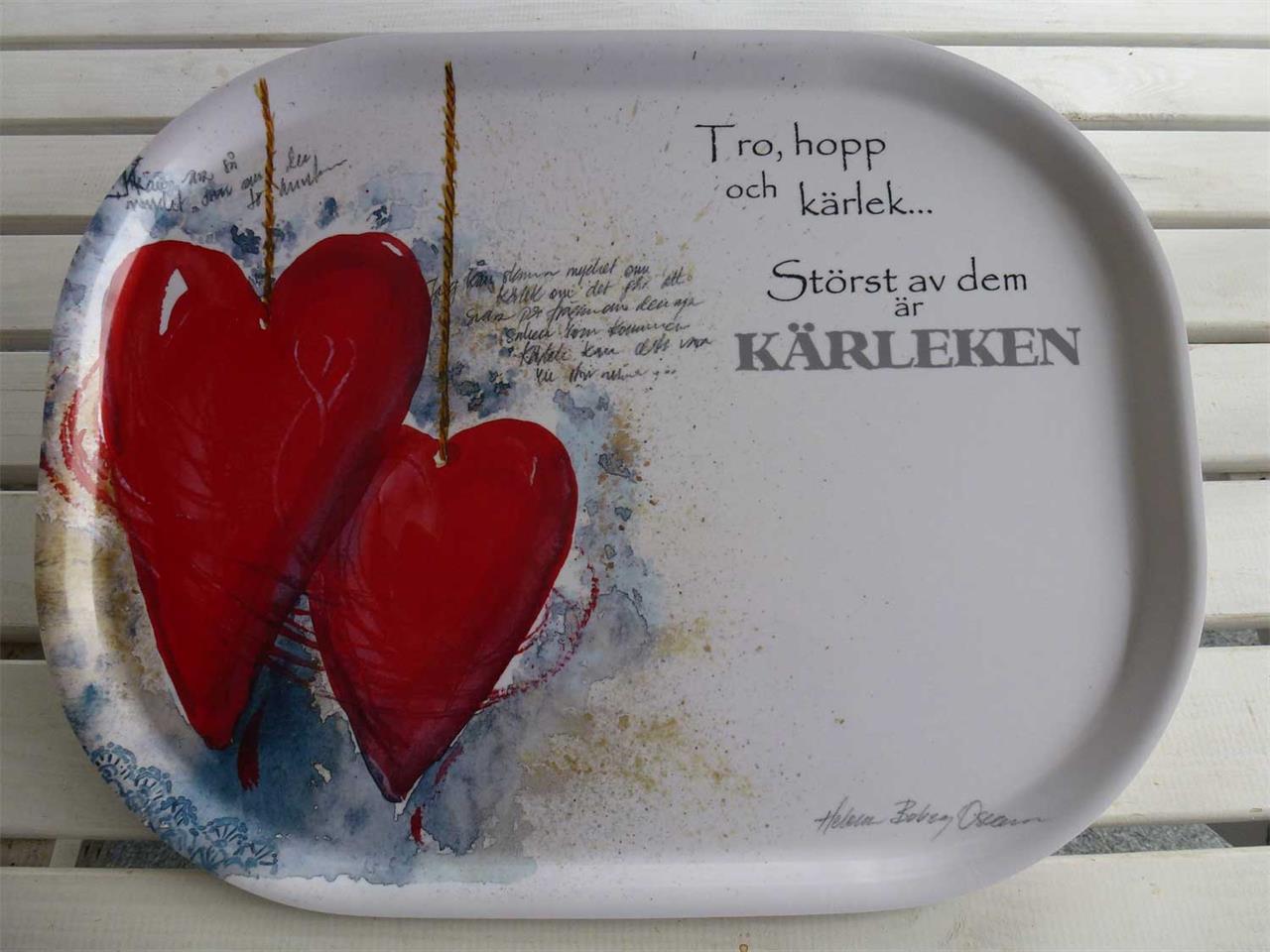 Bricka hjärtan 41 x 33 cm