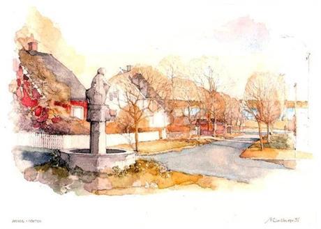 Akvarelltrykk av Arve Solberg med motiv fra Hans Gudesgate