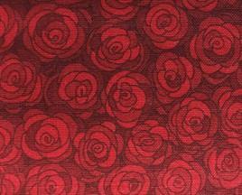 Mørk rød m/ roser