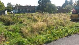 140906 Förbereder fräsning av gräsmatta