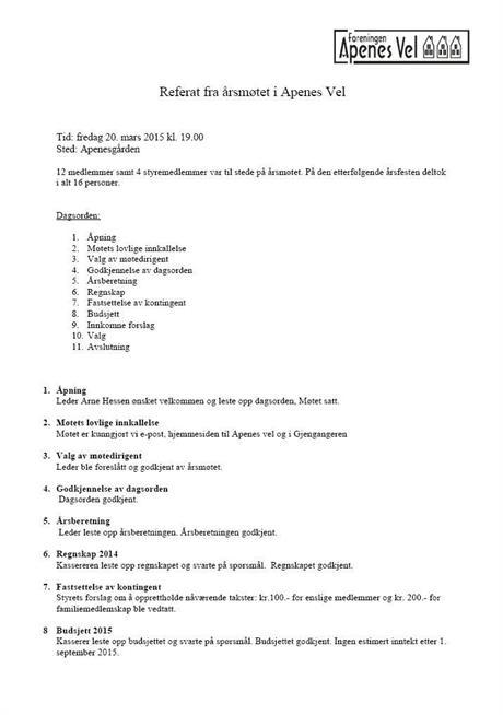 Referat fra Årsmøte 2015