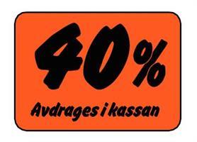 Etikett 40% Avdrages i kassan