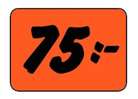 Etikett 75:- 50x30mm