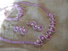 Rosa halsband set