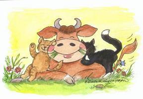 Ko med katter 7x9
