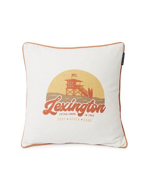 Lexington Surf Beach Logo Cotton Canvas Pillow Cover