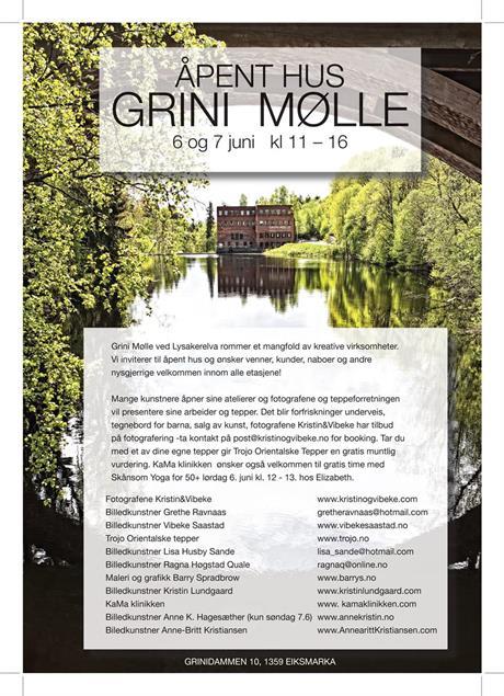Åpent hus på Grini Mølle 6.-7.juni