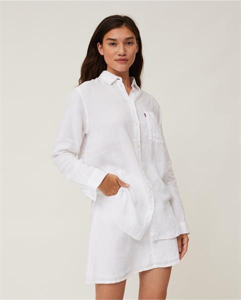Lexington Isa Linen Shirt, White
