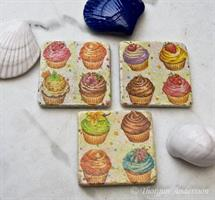 Underlägg/Coaster, 4 cup-cakes
