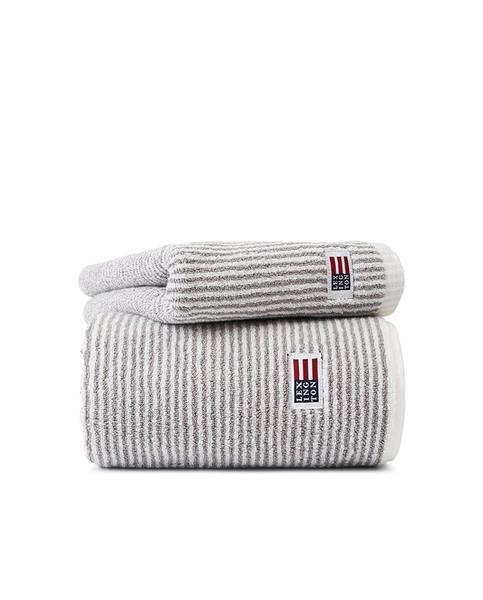 Lexington Original Towel, White/Gray Stripe 30 x 50 cm