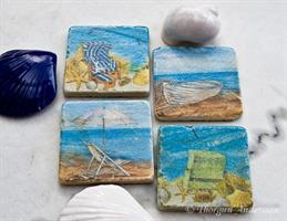 Underlägg/Coaster, blå strand, olika motiv