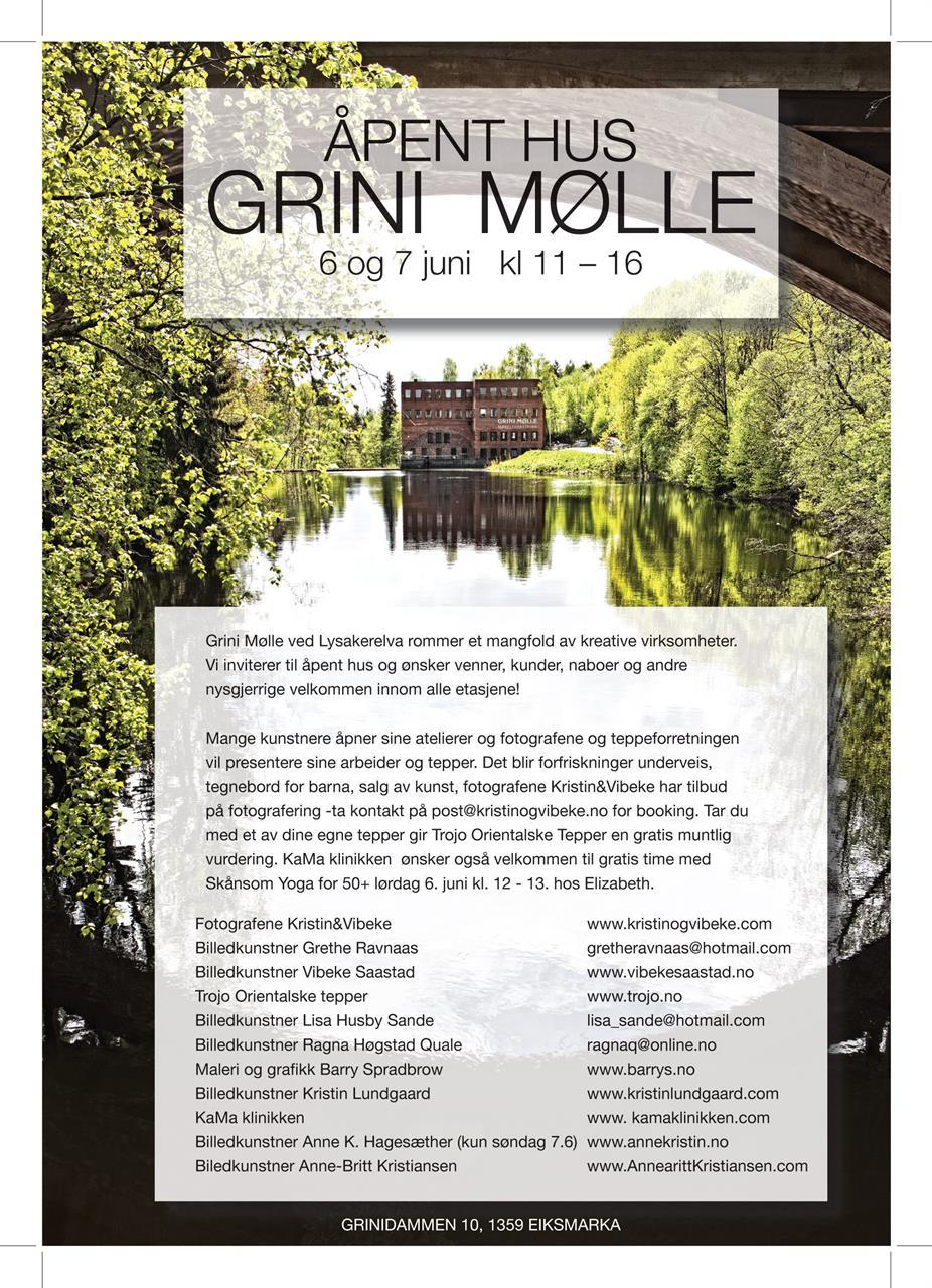 Invitasjon til Åpent hus på Grini Mølle