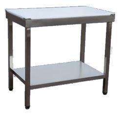 Rostfritt bord med hel vit skärbräda
