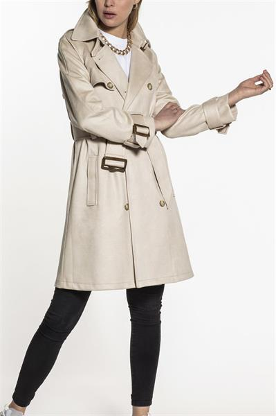 Beaumont Faux suede Trenchcoat, Oatmeal